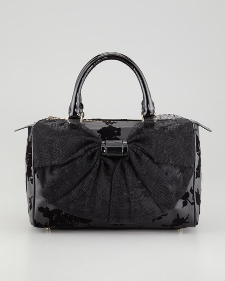 Rose Flocked Point d'Esprit Bowler Bag, Black