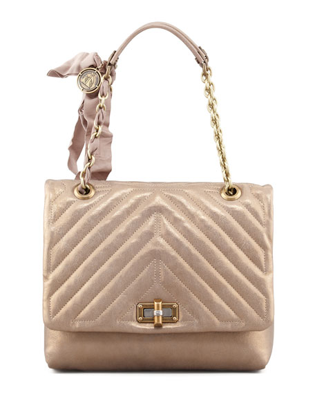 Happy Quilted Leather Shoulder Bag, Gold