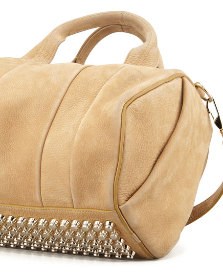 Rocco Stud-Bottom Satchel Bag, Tan/Yellow Golden