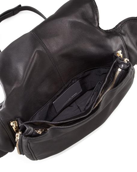 Iris Leather Messenger Bag, Black