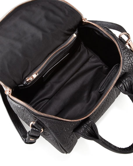 Rockie Crossbody Satchel Bag, Black/Rose Gold