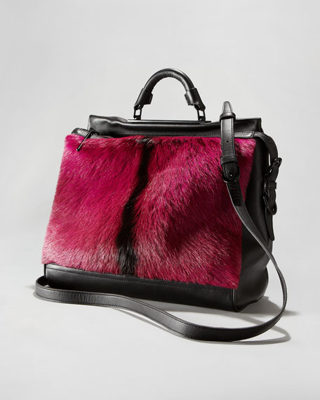 Ryder Goat Fur Satchel Bag, Pink/Black