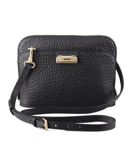 Pebbled Leather Crossbody Bag, Black