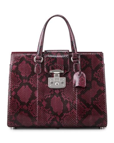 Gucci Lady Lock Python Tote, Wine