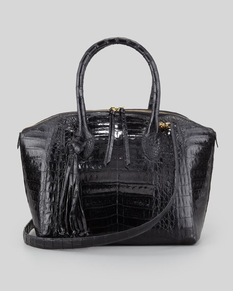 Small Crocodile Tassel Bowler Bag, Black