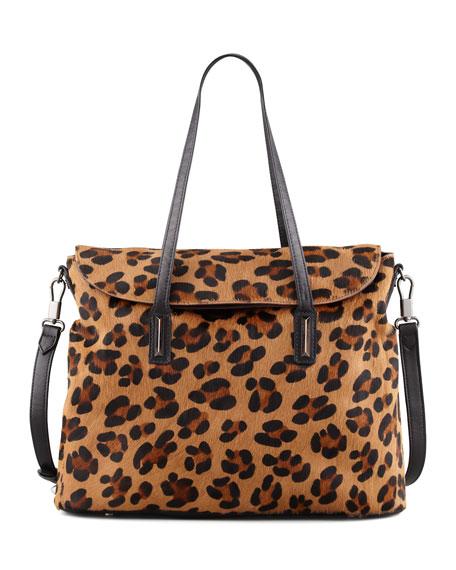 Leopard-Print Calf Hair Satchel Bag