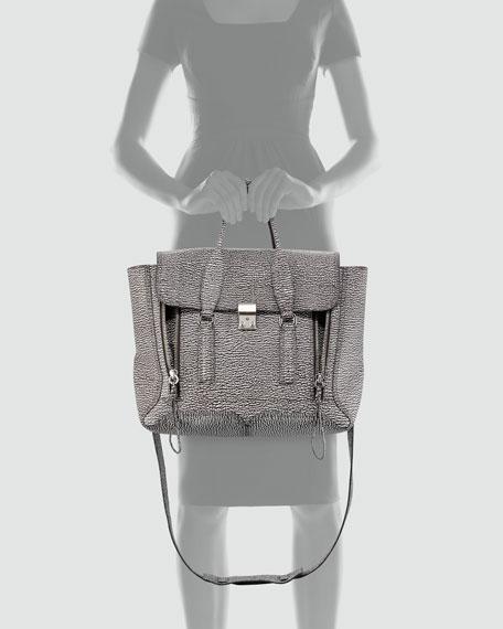 Pashli Two-Tone Zip Satchel Bag, White/Black