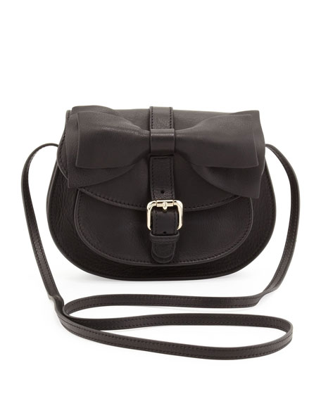 Bow-Flap Crossbody Bag, Black