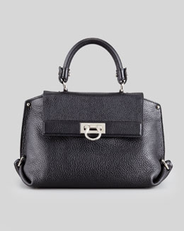 Salvatore Ferragamo Sofia Medium Satchel Bag, Black