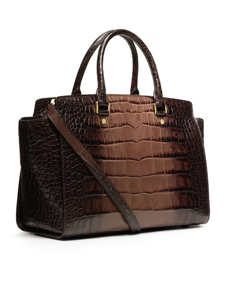 Large Selma Crocodile-Embossed Satchel