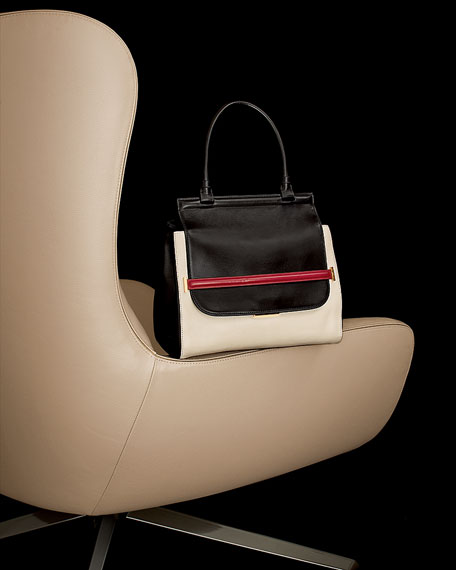 Colorblock Top-Handle Satchel, Black/White/Red