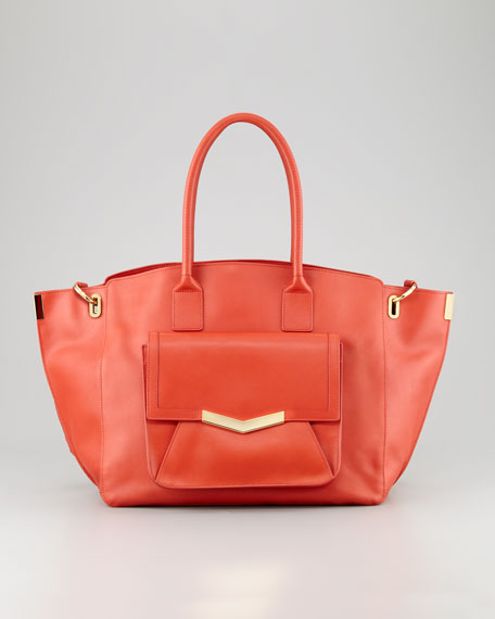 Jo Leather Tote Bag with Pocket, Paprika/Gold