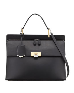 Balenciaga Le Dix Cartable Zip Satchel Bag, Black