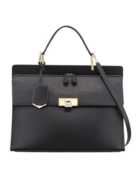Le Dix Cartable Zip Satchel Bag, Black
