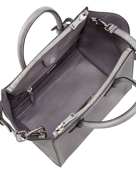 Glace Calf Large Twin Pocket Tote Bag, Gray (Marmo)