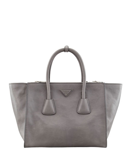 Prada Glace Calf Large Twin Pocket Tote Bag, Gray (Marmo) - prada frame bag marble gray