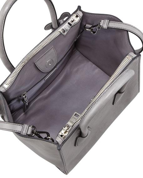 Glace Calf Twin Pocket Tote Bag, Gray (Marmo)