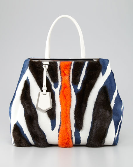 2Jours Zebra-Print Fur Tote Bag, Multicolor