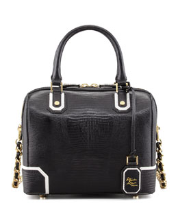 Alice + Olivia Olivia Lizard-Embossed Bag, Black/White