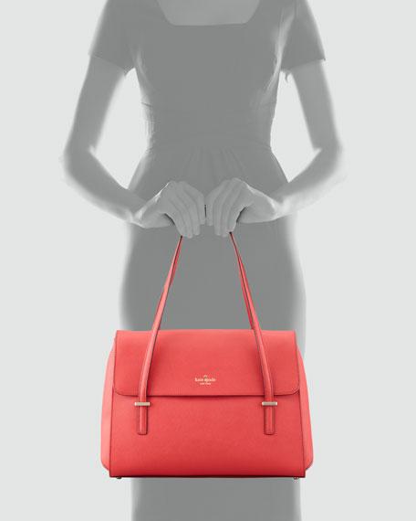 cedar street luciana structured saffiano shoulder bag, garnet