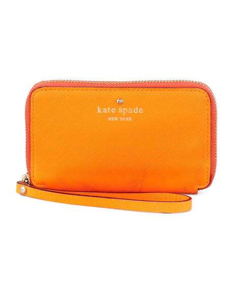 cherry lane louie wristlet wallet, orange