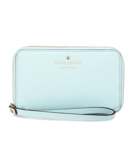 cherry lane louie wristlet wallet, light blue