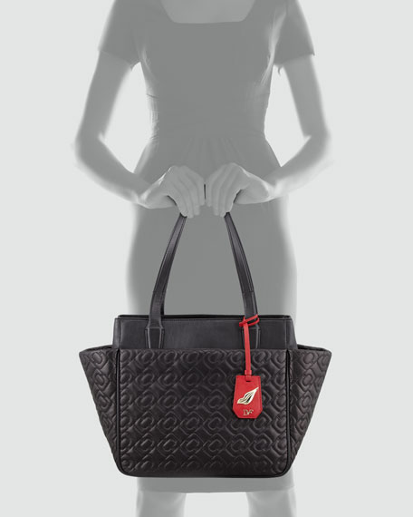 On the Go Quilted Chain Link Tote Bag, Black