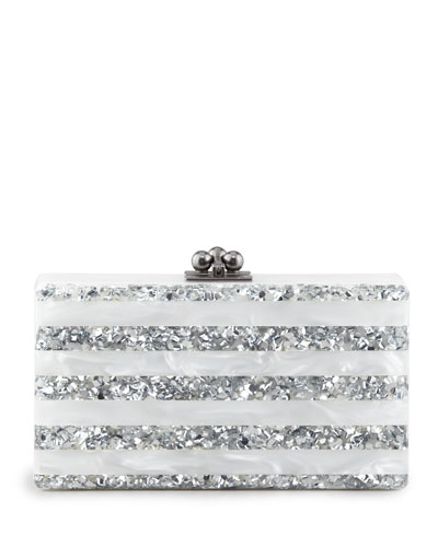 Jean Striped Acrylic Confetti Clutch Bag, White/Silver