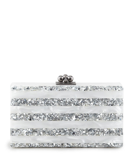 Edie Parker Jean Striped Acrylic Confetti Clutch Bag,