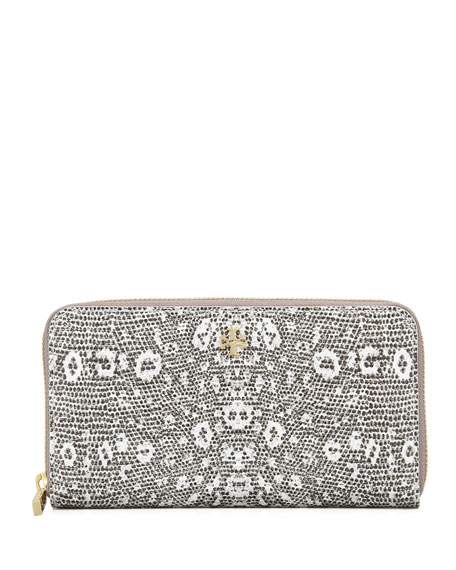 Lizard-Embossed Continental Zip Wallet, White