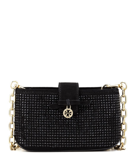 Crystallized Smart-Phone Crossbody Bag, Black