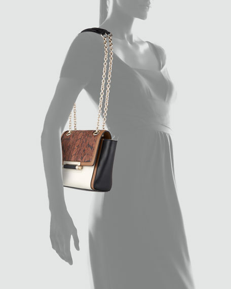440 Leather & Snakeskin Crossbody Bag, Dark Camel