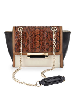 Diane von Furstenberg 440 Leather & Snakeskin Crossbody Bag, Dark Camel