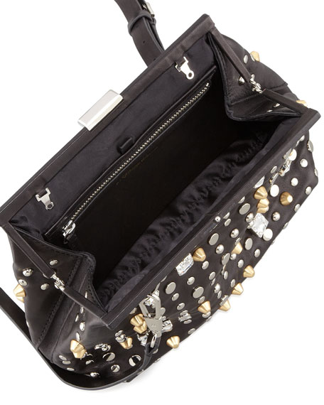 Studded Leather Frame Clutch Bag, Black