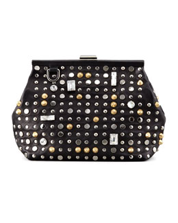 3.1 Phillip Lim Studded Leather Frame Clutch Bag, Black