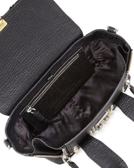 Pashli Mini Studded Leather & Fur Satchel Bag, Black