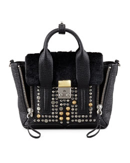 3.1 Phillip Lim Pashli Mini Studded Leather & Fur Satchel Bag, Black