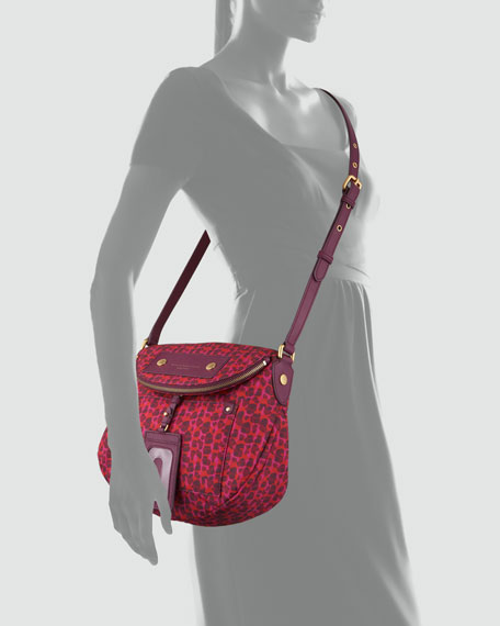 Preppy Nylon Natasha Isa Print Bag, Red/Pink