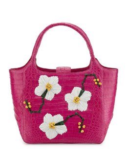 Nancy Gonzalez Crocodile Tote Bag with Floral Ornaments, Pink