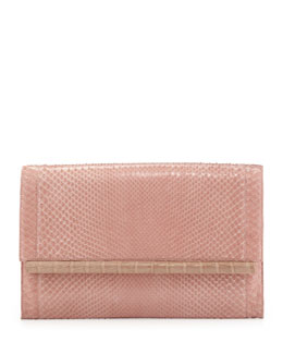 Nancy Gonzalez Cobra/Crocodile Top Flap Bar Clutch Bag, Nude/Pink