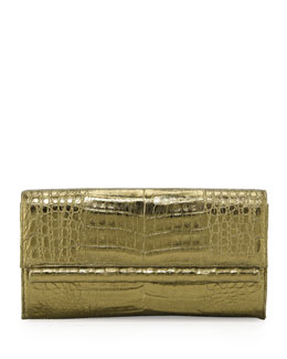 Nancy Gonzalez Crocodile Front Flap Bar Clutch Bag, Bronze