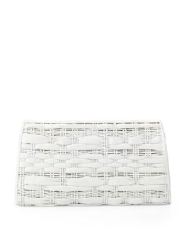 Nancy Gonzalez Woven Crocodile Clutch Bag, White