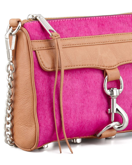 Mini MAC Calf Hair Crossbody Bag, Hot Pink