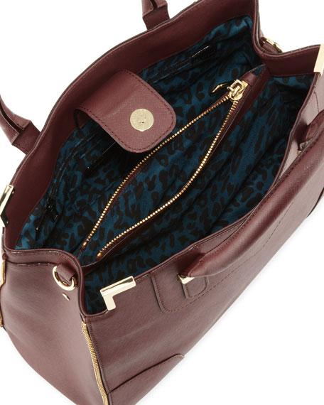 Amorous Saffiano Satchel Bag, Black Cherry