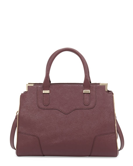 Amorous Saffiano Satchel Bag, Black Cherry