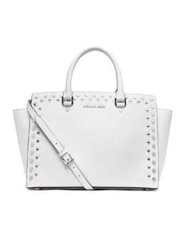 MICHAEL Michael Kors  Large Selma Jewel-Trim Satchel