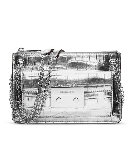 Small Sloan Metallic Crocodile-Embossed Crossbody
