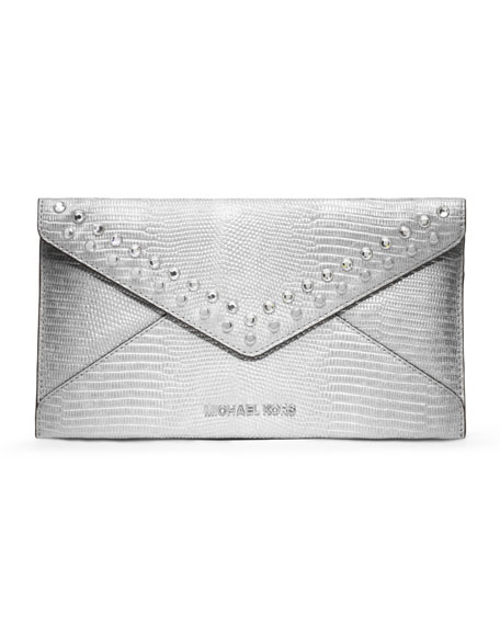 Large Jeweled Jet Set Travel Envelope Clutch