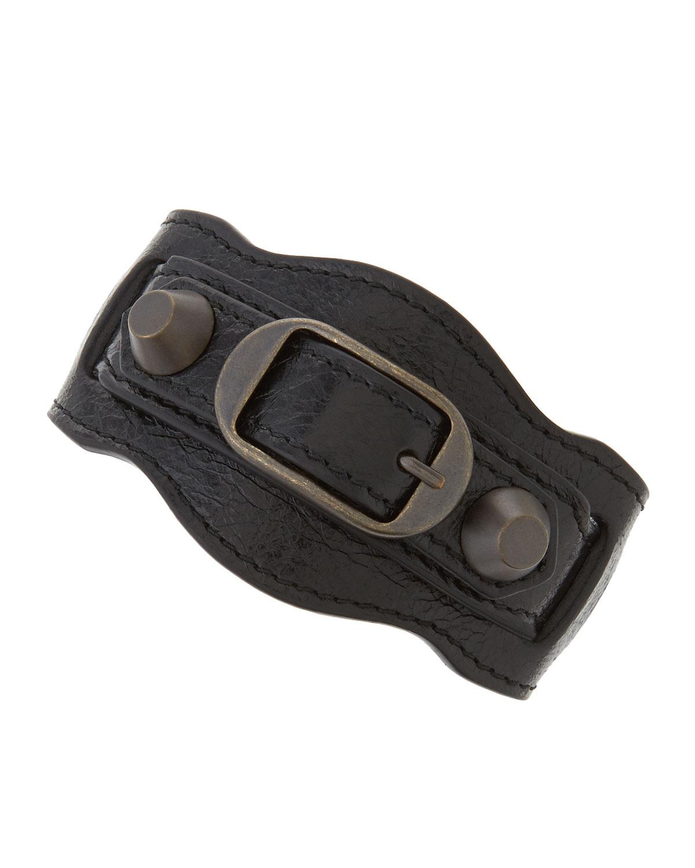 Clic Leather Single Strap Bracelet Black