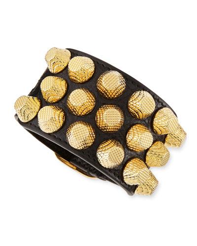 Giant 12 Yellow Golden Leather Triple Row Bracelet, Black